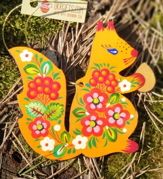 Squirrel animal wooden Christmas tree ornament, hand painted