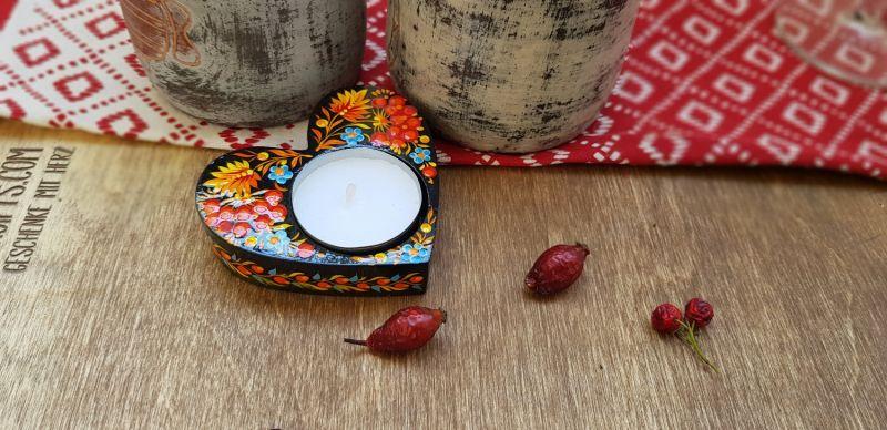Heart shaped beautiful handmade wooden candlestick, ukrainian art