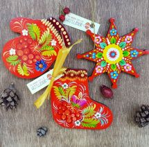 Set of hand painted wooden Christmas tree ornaments (christmas star, mitten and christmas stocking)