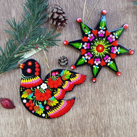 Wooden Christmas tree ornaments, set (bird, christmas star) hand painted