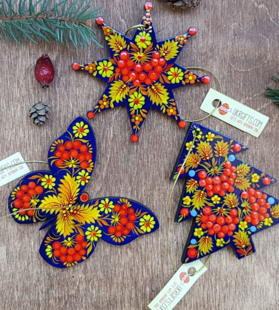 Wooden Christmas ornaments, set (butterfly, christmas star and tree), fine painting