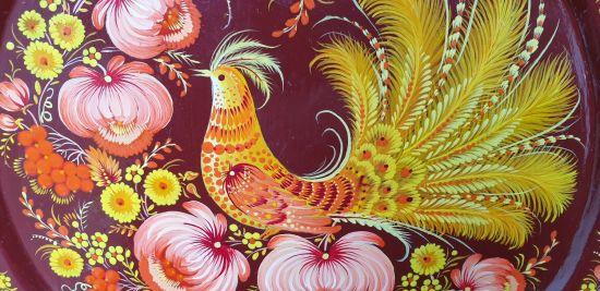 "Wall plate, art for the home ""Fairy bird"", ukrainian hand painting"