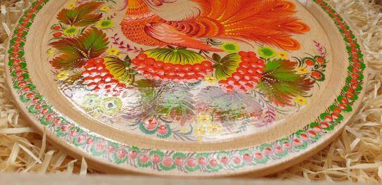 "Wall plate deco ""Bird on natural wood"", ukrainian Petrykivka style"