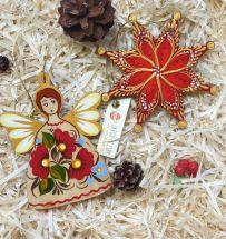 Weihnachtsbaumschmuck-Set (Engel und Stern), traditionelles Kunsthandwerk