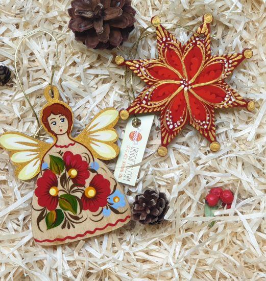 Set of handmade wooden Christmas ornaments (Angel and Christmas Star), ukrainian hand painting