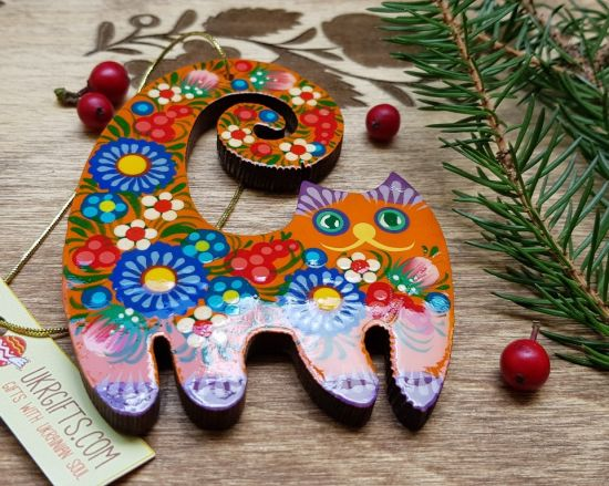 Red cat wooden funny animal Christmas ornaments