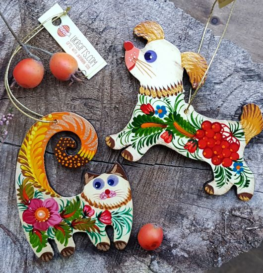 Animal Christmas ornaments Cat and dog hand painted