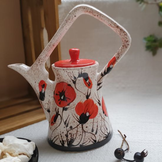 """Original teapot """"Poppy in the Snow"""" painted by hand"""