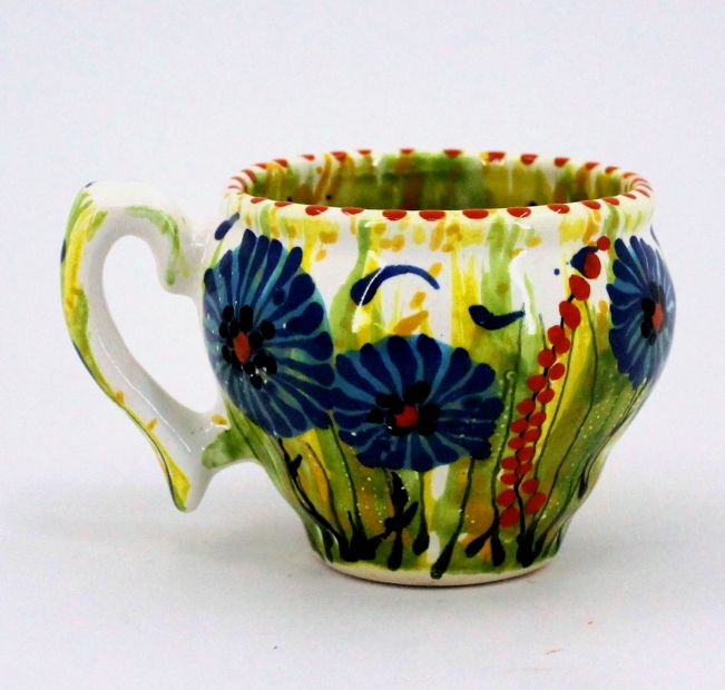 Handmade and hand painted ceramic cup (81)