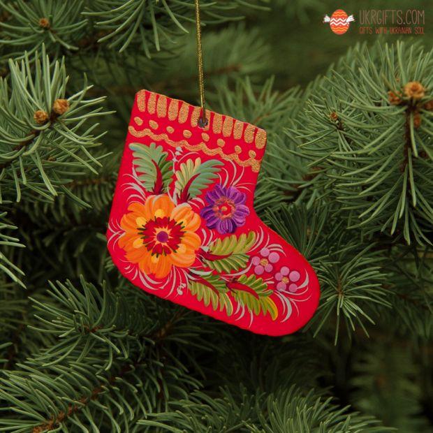 Roter Weihnachtsbaum-Stiefel aus Holz, ukrainisches Kunsthandwerk