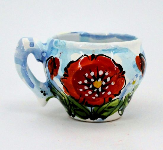 Hand-painted unique clay cup (82)