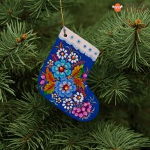 Wooden Christmas stockings Ornaments (06), hand painted in Ukraine, Petrykivka Painting