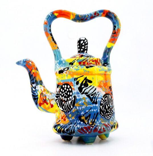 Originelle Teekanne aus Keramik mit Abstraction