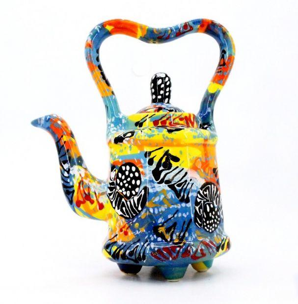 Расписной чайник (23) керамика ручной работы