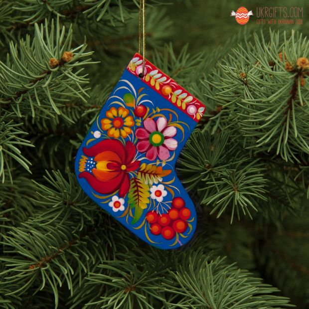 Wooden Christmas stockings Ornaments (07), hand painted in Ukraine, Petrykivka Painting