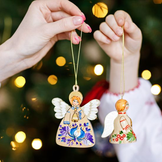 Red golden Christmas ornaments Angel and bell