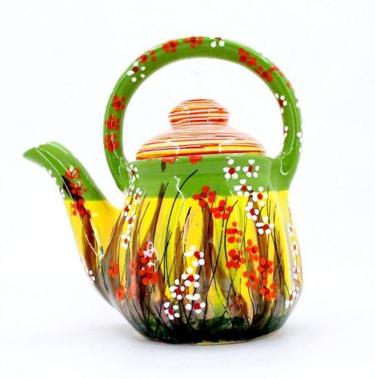 Lustige Teekanne aus Ton, handbemalt