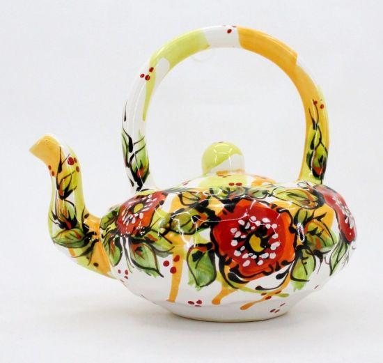 Ceramic teapot with poppies, original shape