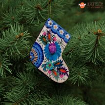 Wooden Christmas stockings Ornaments (09), hand painted in Ukraine, Petrykivka Painting