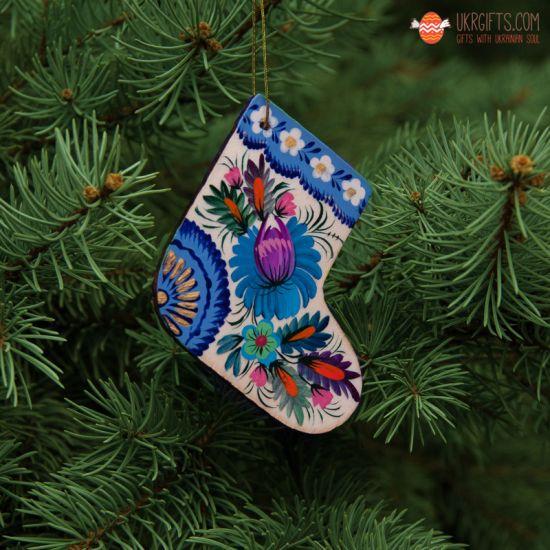 Weihnachtsbaumanhänger - Stiefel  aus Holz mit blauem Muster