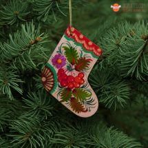 Wooden Christmas stockings Ornaments (10), hand painted in Ukraine, Petrykivka Painting
