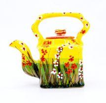 Frohe Teekanne aus Ton  handbemalt