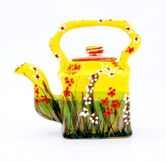 Happy hand painted clay teapot