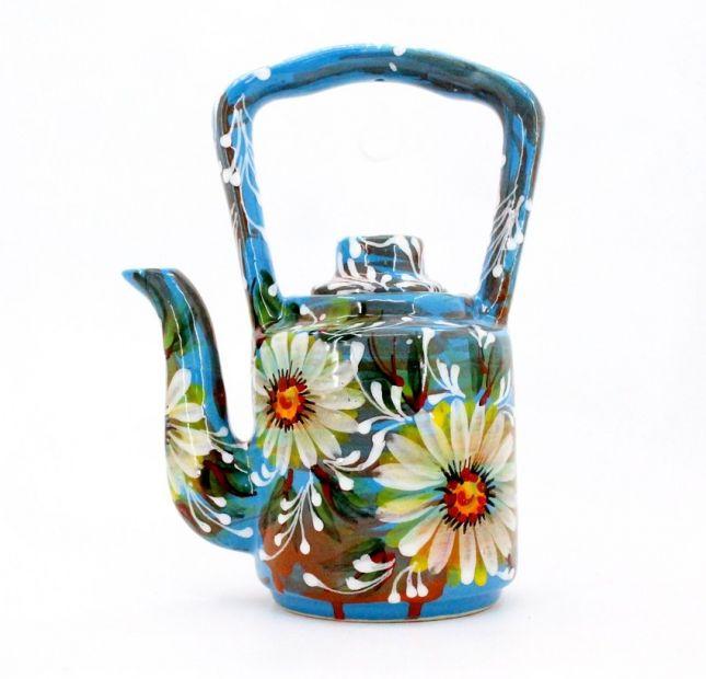 Handbemalte keramik Kaffeekanne mit Gänseblümchen