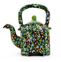 Colorful ceramic teapot with small flowers