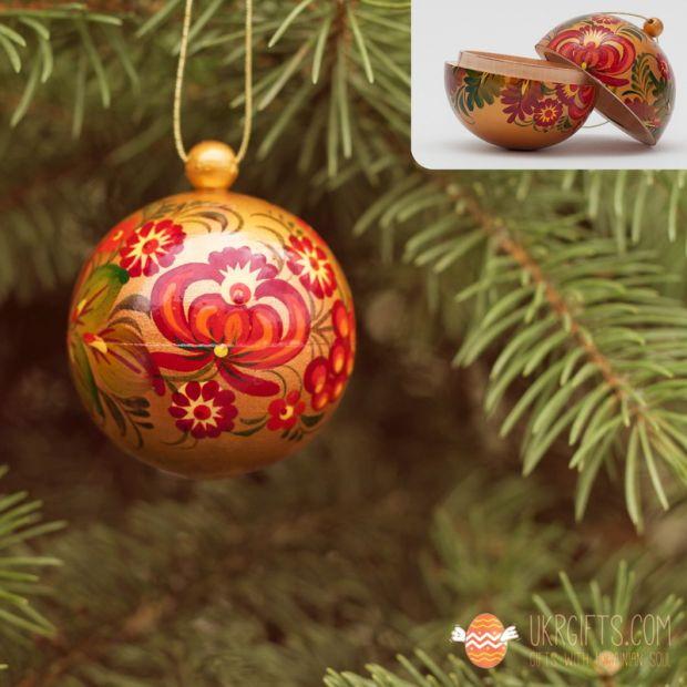 Goldene handbemalte Weihnachtskugel aus Holz, 5.5cm