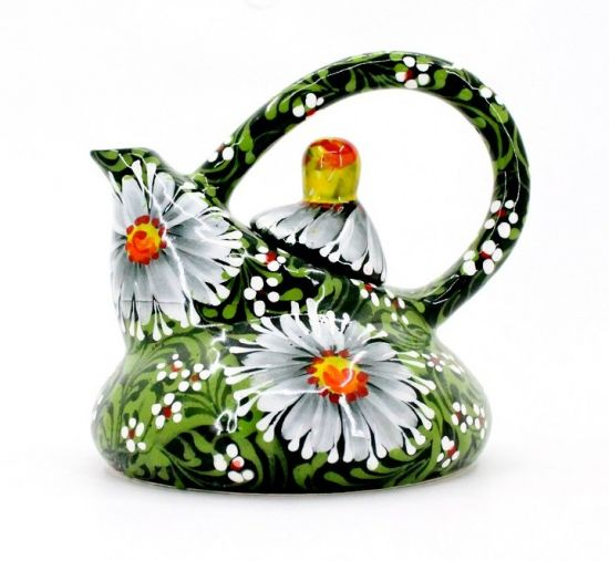 Originelle Teekanne aus Keramik mit Gänseblümchen