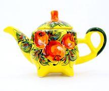 Handbemalte keramik Kaffeekanne mit Äpfeln