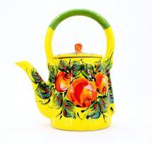 Bunte keramik Teekanne mit Äpfeln