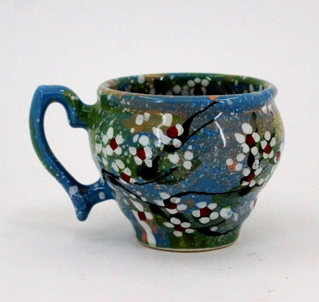 Hand-painted unique clay cup (63)
