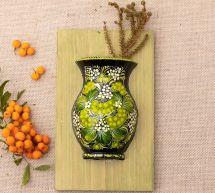 Ausgefallene Wanddeko für die Küche aus Holz, Vase, handbemalt
