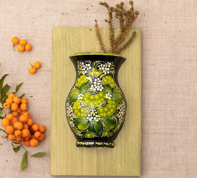 Unique wall art, wooden hanging vase with green flowers