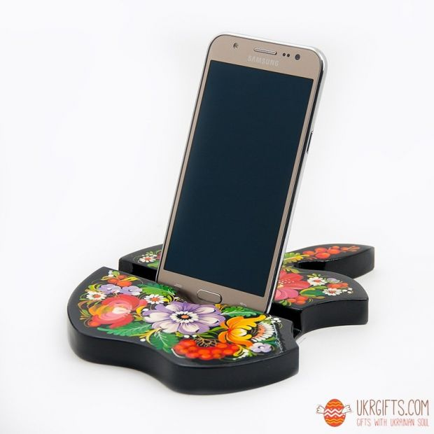 Apple woden Stand for phone and table, exclusive desktop decor, hand painted
