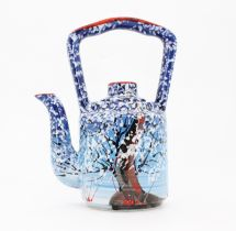 Design clay teapot with winter motifs