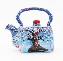 Hand-painted ceramic coffee pot with winter motifs