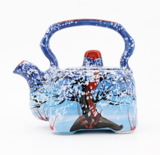 Handbemalte keramike Kaffeekanne mit Wintermotive
