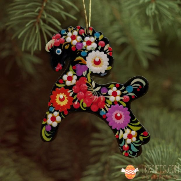 Wooden Christmas Horse Ornaments (05), hand painted in Ukraine, Petrykivka Painting