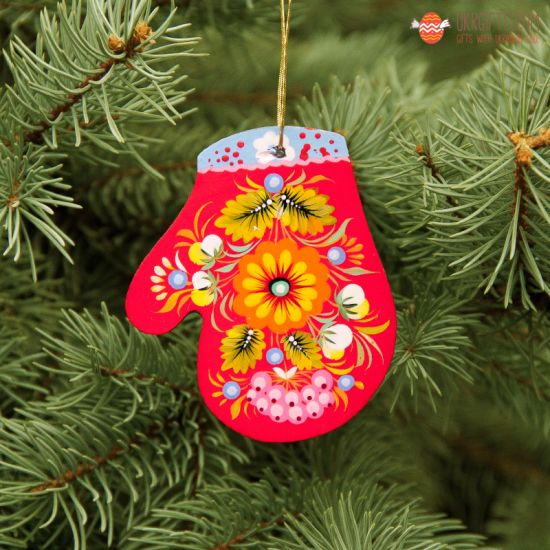 Wooden Christmas Mitten Ornaments (01), hand painted in Ukraine, Petrykivka Painting