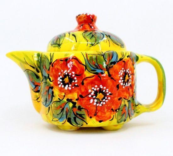 Original ceramic teapot with poppies, handpainted