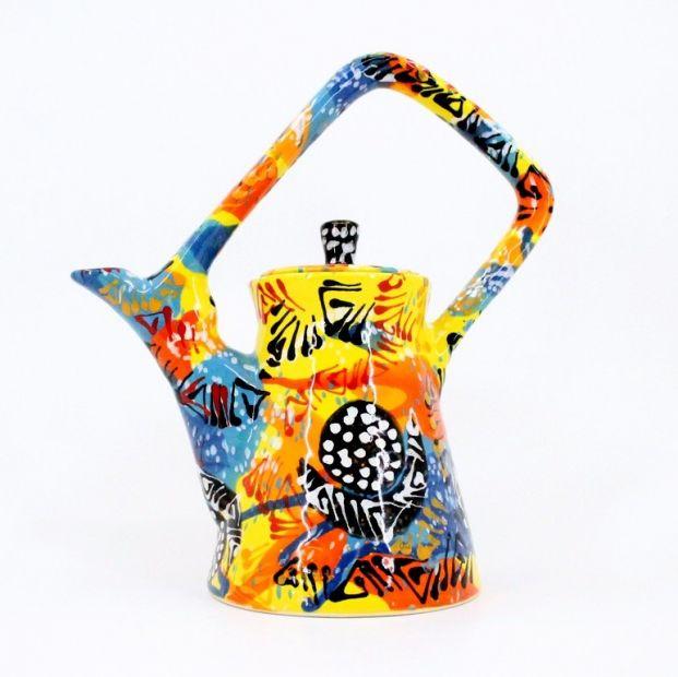 Colorful ceramic teapot, handmade