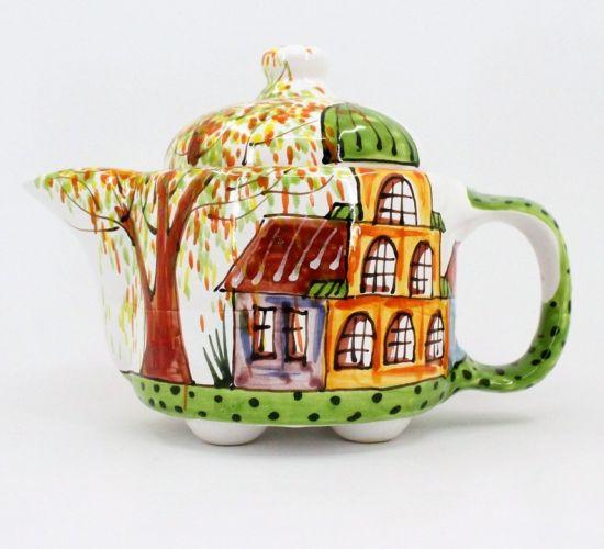 """Getöpferte Teekanne """"Frühlingsstadt"""" handbemalt"""