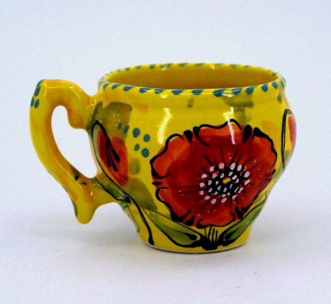 Handmade and hand painted ceramic cup (66)