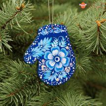 Blauer Fäustling-Christbaumschmuck aus Holz mit weißem Blumenmuster