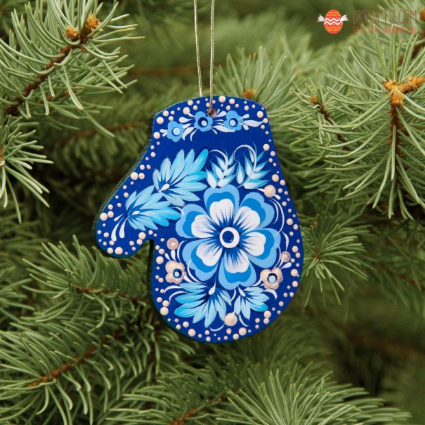 Wooden Christmas Mitten Ornaments (02), hand painted in Ukraine, Petrykivka Painting