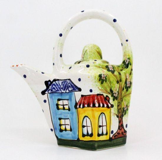 """Originelle Teekanne aus Keramik """"Frühlingsstadt"""""""
