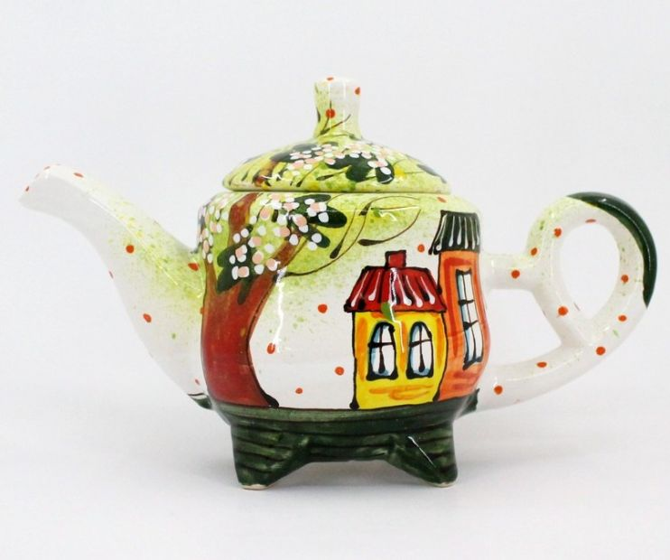"Handmade clay teapot ""City of Spring"""